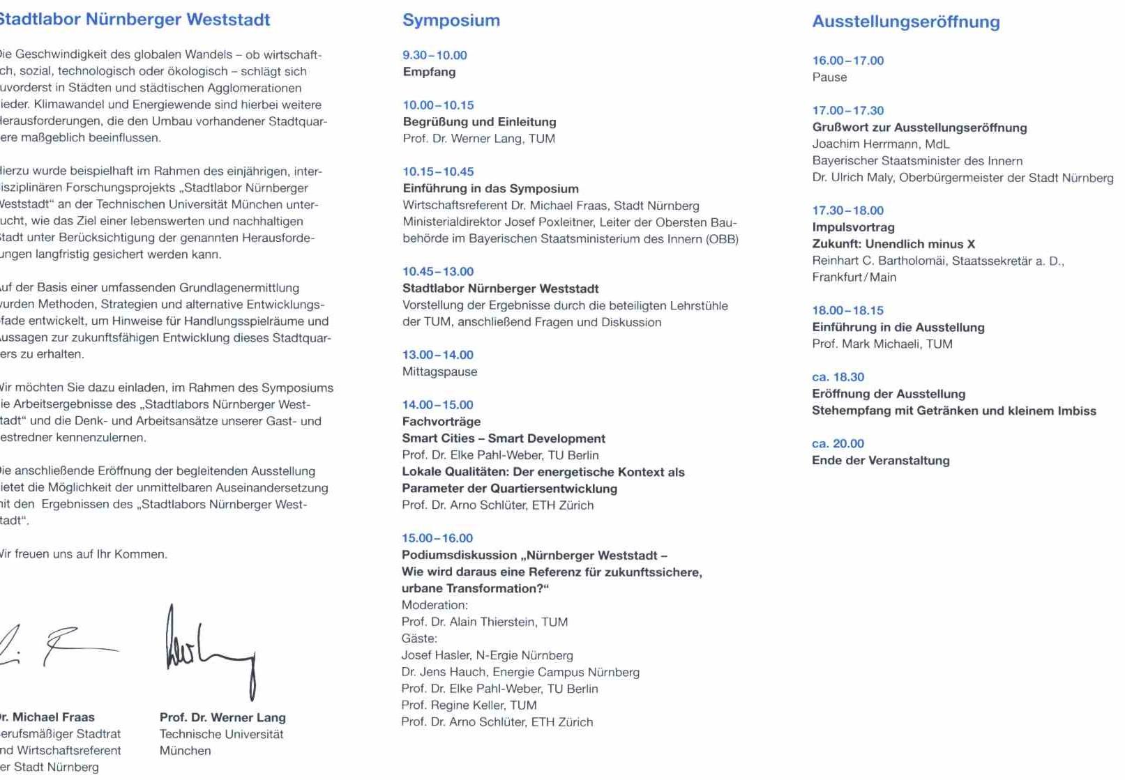 Einladung zum Symposium - Innenseite